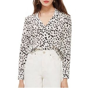 Topshop Animal Print Button Down Blouse